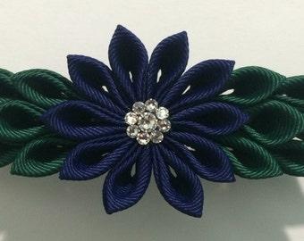 Navy Kanzashi Style French Barrette