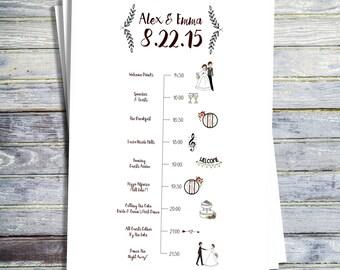 Wedding Timeline, Printable Wedding Program, Printable Order of Ceremony, Order of Events, Order of Service, Printable Wedding Day Timeline