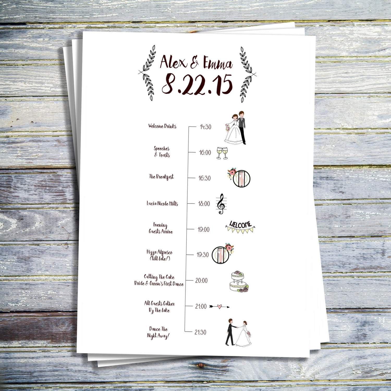 Wedding Table Wedding Timeline wedding timeline etsy printable program order of ceremony events service day timeline