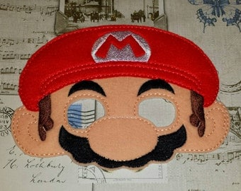 Super Mario Bros inspired mask Nintendo ITH Project In the Hoop Embroidery Design Costume Cosplay Fancy dress, Masquerade, Photo booth Prop.