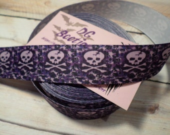 Purple Skull grosgrain ribbon, Purple skull and crossbone grosgrain ribbon