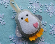 Penguin felt decoration. Winter wonderland.