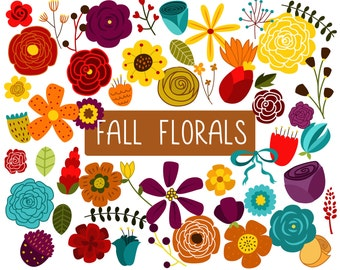 Vintage/Retro Autumn Floral Design Elements Clip Art - Set of 52 300 DPI PNG, JPG and Vector Files Digital Download
