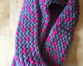 Grey and Hot Pink Infinity Scarf