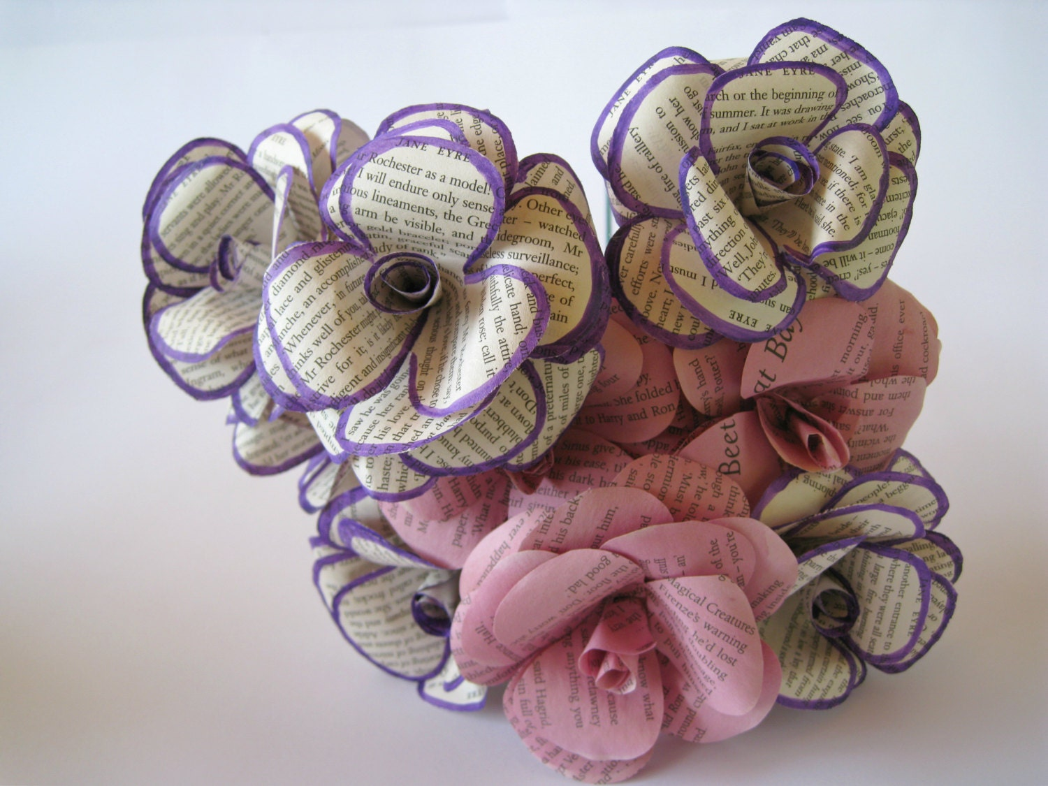 Set of 12 book paper flowers book page flowers stem roses paper set of 12 book paper flowers book page flowers stem roses paper wedding mightylinksfo