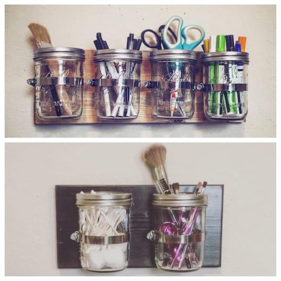 Bathroom organizer mason jar organizer craft by for Mason jar craft storage