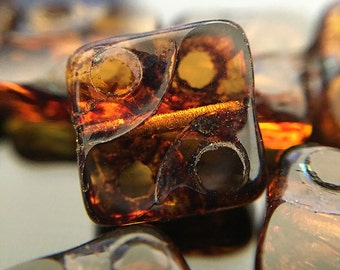 Dark Amber Brown Czech Glass Square Beads, Amber Brown Glass Squares with Picasso, Brown Glass Tile Beads, 10mm - 15 beads (TL-06)