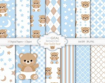 Blue Teddy Bear Digital Paper Set- Bear Clipart included - Lullaby backgrounds with stars, moon, teddy bear-Baby Shower-Baby Boy-New baby