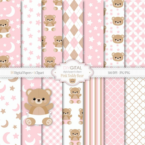 Pink Teddy Bear Digital Paper Set Bear Clipart included