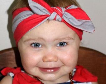 Ohio State Buckeye Top Knot Scarlet and Grey Knit Headband