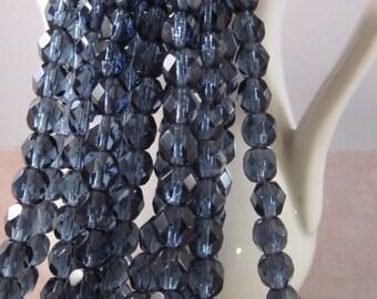 DUSK SKY 6mm Firepolish Montana Blue Czech Glass Faceted Rounds - Montana Blue Navy Dark Blue - Qty 25 6-165