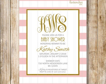 GOLD PINK MONOGRAM Baby Shower Invitation, Pink Monograms It's A Girl Invite, Baby Girl, Gold Blush White Stripes, Diy Printable Digital