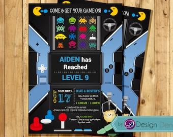 VIDEO Game Birthday Party invitation.  ARCADE Game Birthday Invitation. Printable Digital.  #K1060
