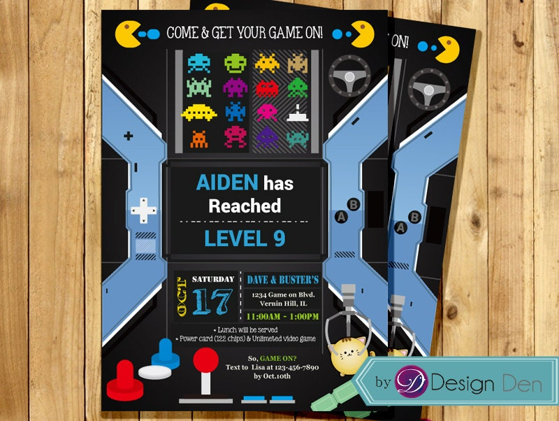 VIDEO Game Birthday Party invitation. ARCADE Game Birthday