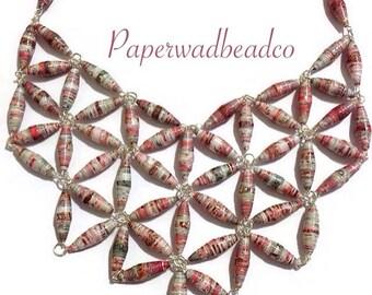 Paper Bead Bib Necklace, Paper Bead Jewelry, Paperbead Jewelry, Pink Paper Bead Necklace, Statement Jewelry