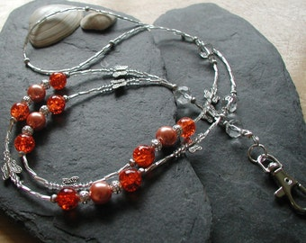 """ID Lanyard Badge Holder """"Orange Butterfly"""" Glass Beads Card Holder Necklace"""