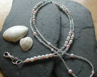 """Handmade """"Pearly Pink"""" ID Lanyard Badge Holder ID Necklace"""