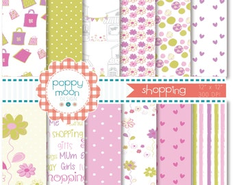 Shopping,mum and me, printable digital paper pack
