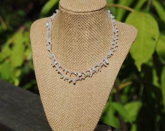 Rainbow Moonstone Gemstone Chip Multistrand Beaded Crochet Necklace on Silver Cord