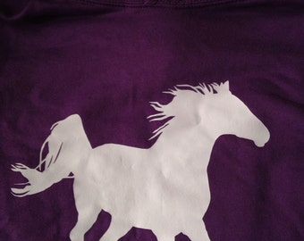 Purple hoodie with horse design