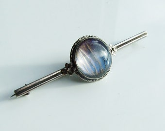 Vintage 925 Sterling Silver Butterfly Wing Flower Bar Brooch Pin