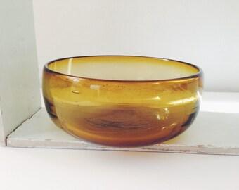 Vintage Retro Handblown Amber Glass Bowl