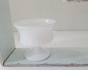 Vintage Milk Glass Compote Pedestal Mug Candy Dish