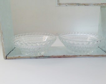 Pair of Vintage Clear Cut Glass Candy Dishes