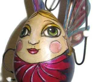 Fairy Ornament Holiday Christmas Housewarming Baby Gourd Hand Painted Woodburned Gift