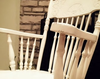 Shabby Chic Rocking Chair White Antique - Vintage Painted Furniture