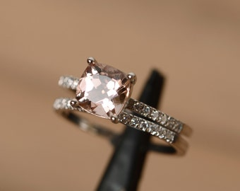pink morganite ring silver stacking ring morganite engagement ring