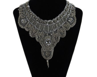 Bridal Necklace choker embroidered bib Statement Necklace Crystal Rhinestone Necklace Bride Jewelry Wedding Jewelry