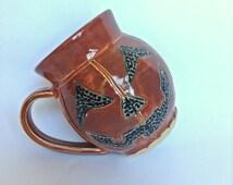 Pumpkin Mug - Jack O Lantern Pottery Mug - Stoneware Halloween Mug - Ceramic Pumpkin - Autumn Mug - Coffee Mug UK - Made in Yorkshire