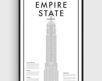 Minimal Empire State Building New York Poster, Black & White Minimal Print Poster, Art, Home Art, Minimal Graphics, New York Poster