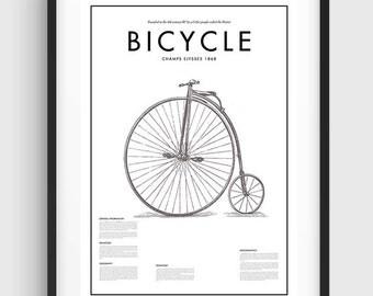 Minimal Bicycle Poster, Black & White Minimal Print Poster, Art, Home Art, Minimal Graphics, Vintage Poster