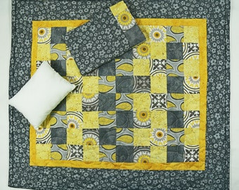 Baby Doll Quilt, American Girl Doll Bedding, 3 PC Doll Quilt, Yellow Grey, 18 Inch Doll Quilt, Doll Blanket, Pretend Play, Mini Quilt