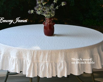 Elegant 75 190 Cm Round White Linen Tablecloth Ruffled
