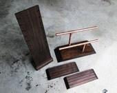 Wooden Display Stand Set // Industrial Wooden Multiple Necklace Display // Bracelet Display // Earrings Displays // Wooden Jewelry Displays