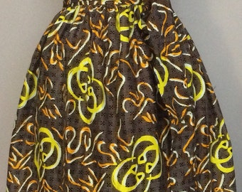 Esty Ankara African Maxi skirt with two Pocket and a belt