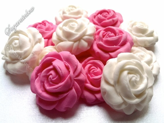 Cake Decorations Sugar Roses : 12 Edible Sugar Roses Decorations cake cupcake toppers