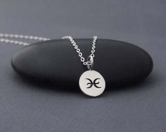 Pisces Necklace Sterling Silver Pisces Zodiac Charm Pendant, Zodiac Jewelry, Astrological Jewelry