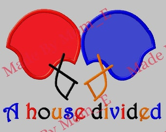Football Helmet Applique - A House Divided