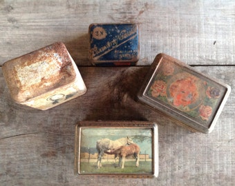Sweet little collection of vintage french biscuit tins