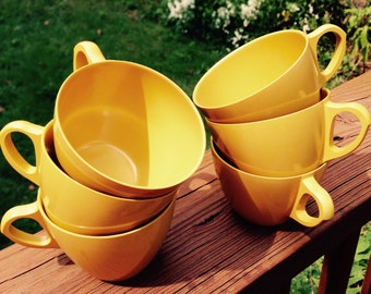Vintage Dallasware Melmac Cups, Mustard Yellow - Set of Six