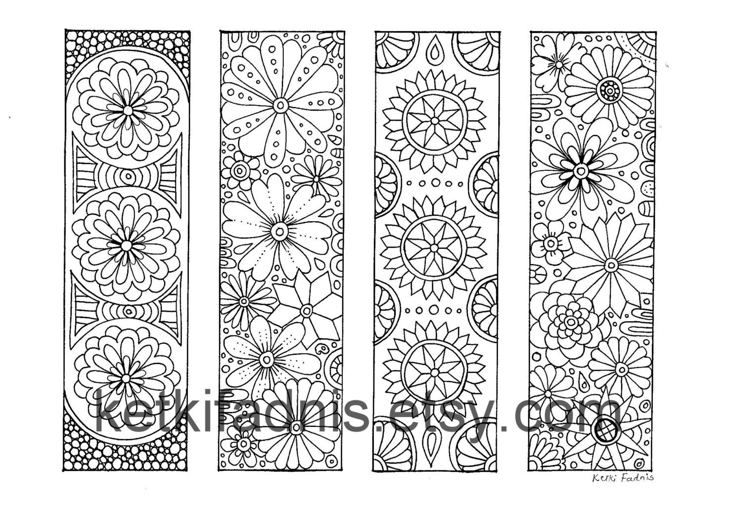 Coloring Bookmarks Flowers PDF Download Bookmarks to