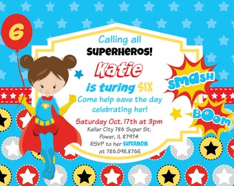 Calling All Superheroes Super Girl Printable Birthday Party Invitation FREE thank you card