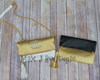 Gold Tassel Clutch - Foldover evening bag - Monogrammed purse - Personalized clutch