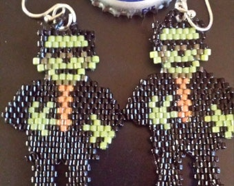 Freaky Frankie Hand Beaded Halloween Earrings Frankenstein Monster Cute Monster