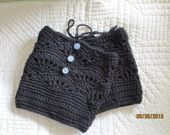 NEW Crochet Leg Warmers Boot Cuffs  , Black , 14 in. inches round