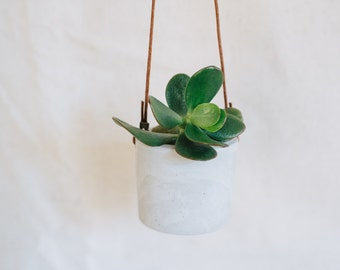Grey cement hanging planter